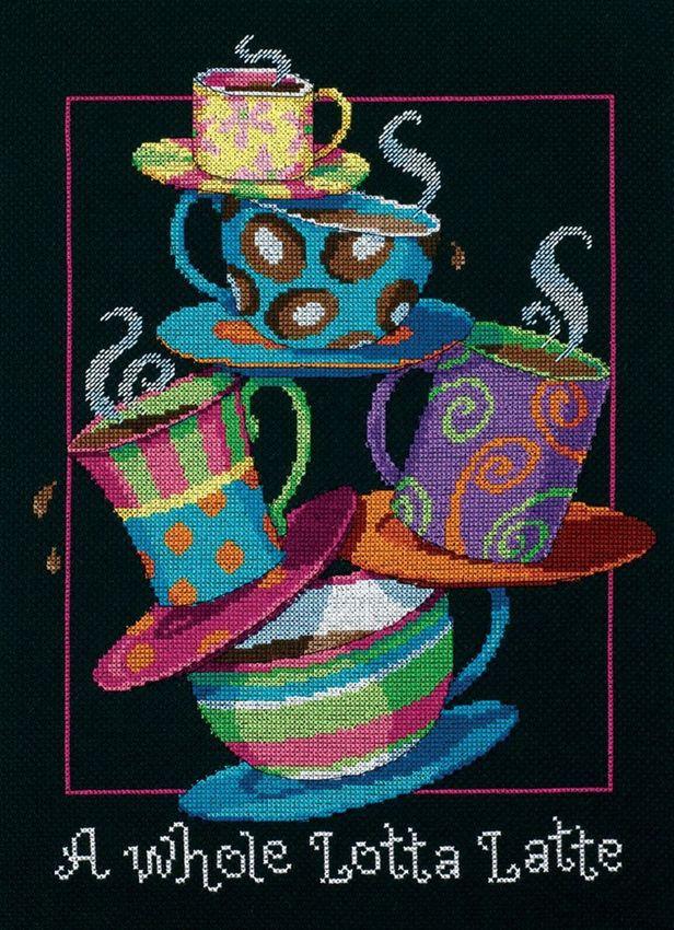 Полные кружки с кофе-латте 28*36