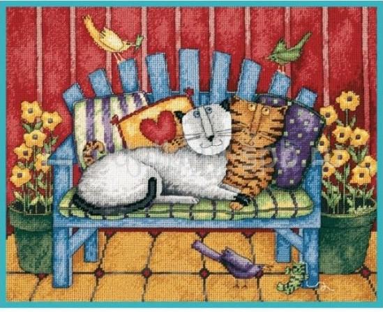 Кошки на веранде 36*28