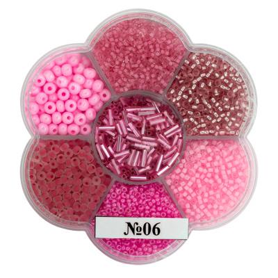 """Бисер Чехия BOX-7 """"цветок"""" 170 г 06 ассорти/розовый.  Откроется в новой вкладке."""